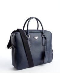 Prada Blue Saffiano Leather Messenger Bag - Lyst