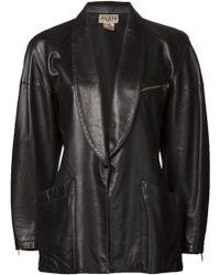 Alaïa Leather Shawl Collar Blazer - Lyst