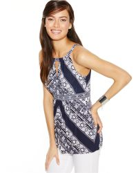 Inc International Concepts Printed Keyhole Tank Top - Lyst