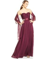 Adrianna Papell Strapless Sweetheart Gown and Shawl - Lyst