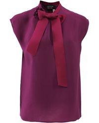 Lanvin Grosgrain Tie Neck Blouse - Lyst