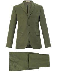Bottega Veneta Threebutton Cottonblend Suit - Green