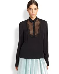 Honor Lace-Trimmed Silk Blouse - Lyst