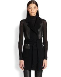 Donna Karan New York Belted Cashmere & Leather Vest - Lyst
