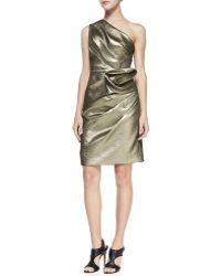 Halston Heritage Floral-twist One-shoulder Dress - Lyst