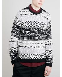 Lac Bk and Grey Aztec Jumper - Lyst