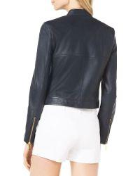 MICHAEL Michael Kors Asymmetric Leather Moto Jacket - Lyst