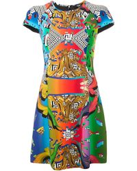 Versus  Graphic Print Cap Sleeve Dress - Lyst