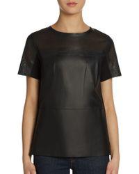 Elie Tahari Sandra Perforated Leather Top - Lyst
