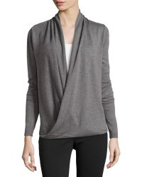 Max Studio Wrap-Front Long-Sleeve Sweater - Lyst