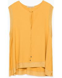Zara Top With Bow Collar - Lyst