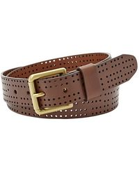 Fossil Perforated Leather Belt brown - Lyst