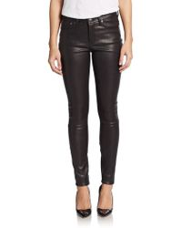 Helmut Lang Leather Combo Skinny Pants - Lyst