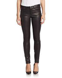 Helmut Lang Leather Combo Skinny Pants - Lyst