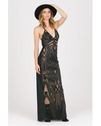 ABS By Allen Schwartz | black Geometric Plunging Neckline Gown | Lyst