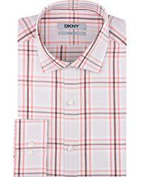 DKNY Plaid Slim Fit Dress Shirt - Lyst