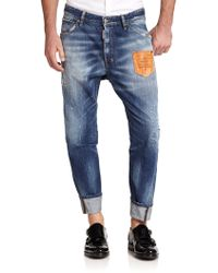 DSquared² Workwear Leather Patch Jeans - Lyst