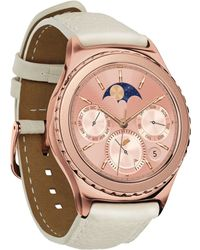 Samsung - Gear S2 Classic Smart Watch With 40mm Rose Gold-plated Case & Ivory Leather Strap Sm-r7320zdaxar - Lyst