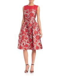 Carolina Herrera | Lamé Rose Jaquard Dress | Lyst