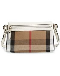 Burberry Women'S 'Small Farley' Canvas Check & Leather Clutch Bag - White - Lyst