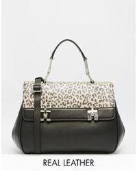 Ri2k Leather Bag With Leopard Print Pony Hair Panel - Black