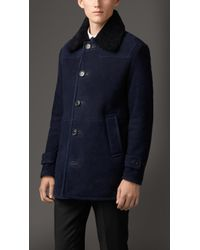 Burberry Shearling Jacket with Shoulder Detail - Lyst