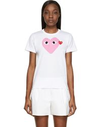 Play Comme des Garçons White And Pink Heart Logo T_Shirt - Lyst