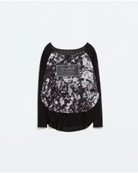 Zara Black Printed T-shirt - Lyst