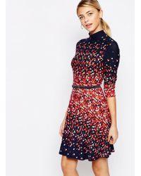 Oasis | High Neck Heart Print Skater Dress | Lyst