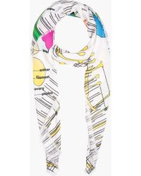 Christopher Kane - White Carnation and Violet Diagram Scarf - Lyst