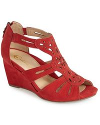 Earthies® 'Morolo' Studded Nubuck Leather Wedge Sandal red - Lyst