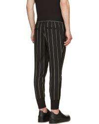 Juun.J - Grey And Black Wool Pinstriped Lounge Pants - Lyst