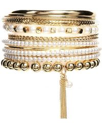 Lipsy - Pearl  Feather Bangle Multipack - Lyst