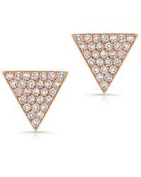 Anne Sisteron 14Kt Rose Gold Diamond Medium Triangle Emma Stud Earrings - Lyst