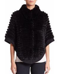 Glamourpuss | Textured Rabbit Fur Poncho | Lyst