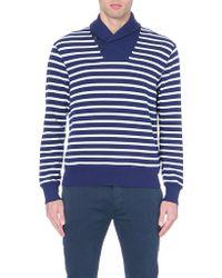 Ralph Lauren Contrast Shawl-collar Knitted Jumper - For Men - Lyst