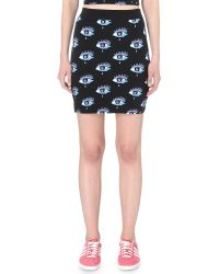 Illustrated People - Eyes On You Stretch-cotton Mini Skirt - Lyst