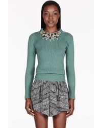 Burberry Prorsum Sage Cashmere Embellished Guernsey Sweater - Lyst
