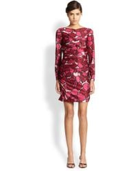 Marc Jacobs Ruched Printed Jersey Dress - Lyst