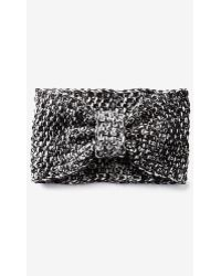 Express - Marl Cable Knit Bow Headwrap - Lyst