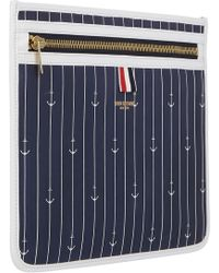 Thom Browne Anchor-pinstripe Document Pouch - Lyst