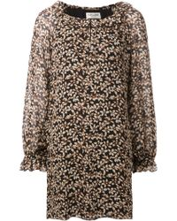 Saint Laurent Floral Organza Dress - Lyst