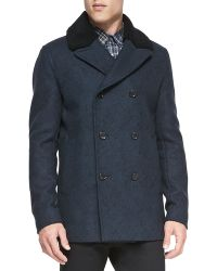 Theory Midlength Peacoat with Shearling Fur Collar - Lyst
