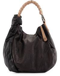 Halston Heritage Snake-Embossed Leather Hobo black - Lyst
