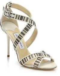 Jimmy Choo Lottie Textured-Stripe Leather Sandals white - Lyst