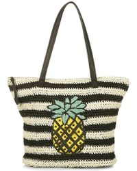 Topshop 'Pineapple' Woven Tote black - Lyst