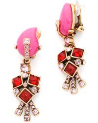 Oscar de la Renta Resin Flower Earrings - Shocking Pink - Lyst