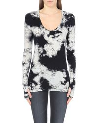 Enza Costa Tie-dye Cotton and Cashmere-blend Top - Lyst