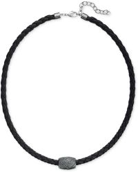 Swarovski Men'S Caesar Rhodium-Plated Black Leather Necklace