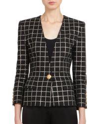 Balmain Metallic Grid-Print Jacket - Lyst